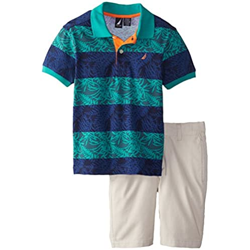 Nautica Little Boys' Two-Piece Stripe Polo Shirt and Short Set