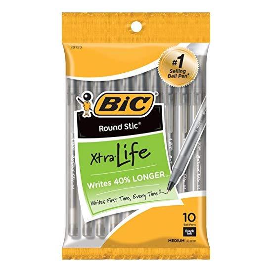 BIC 黑色签字笔 10支