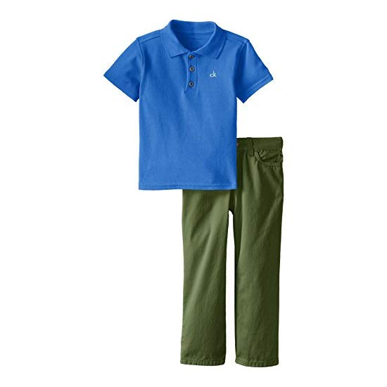 Calvin Klein Little Boys' Polo-Shirt-and-Pant Set
