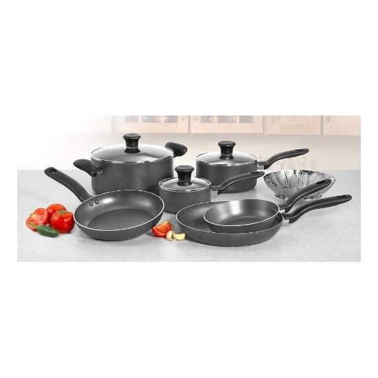T-fal A821SA Initiatives Nonstick Inside and Out 10-Piece Cookware Set, Charcoal