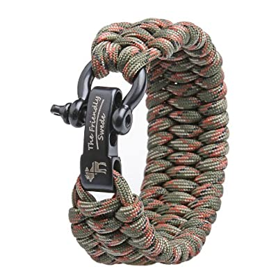 The Friendly Swede Trilobite Extra Beefy Paracord Survival Bracelet with Stainless Steel Black Bow Shackle, Adjustable Size Fits 7
