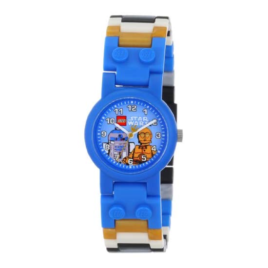 LEGO Kids Star Wars C-3PO and R2-D2 Plastic Watch with Link Bracelet and Coordinating Figurines