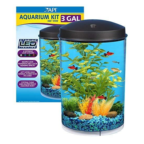 KollerCraft Aqua View 360 Aquarium Kit with LED Light, 3-Gallon