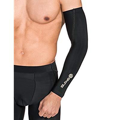 SKINS Essentials Compression Arm Sleeves, Black/Gold, Medium
