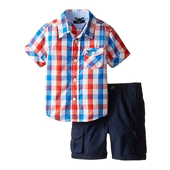Tommy Hilfiger Baby Boys' Asher Yarn Dye Plaid Shirt Set
