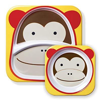 Skip Hop Zoo Melamine Plate and Bowl Set, Monkey
