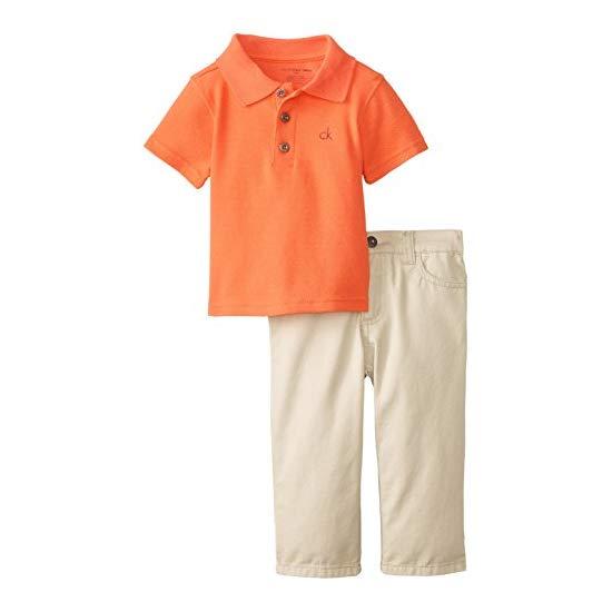 Calvin Klein Baby Boys' Orange Polo with Khaki Pants