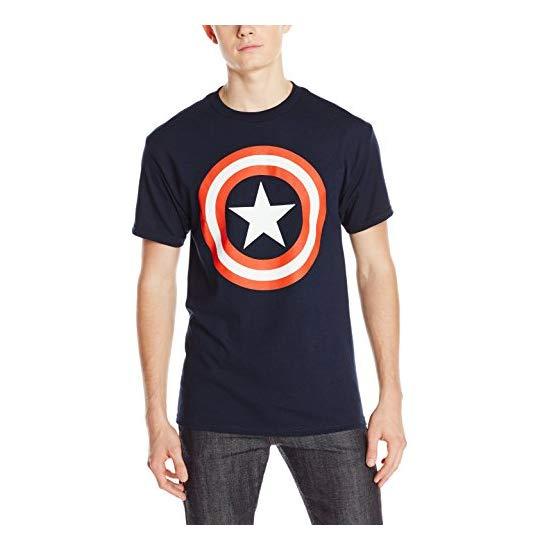 Marvel 漫威 美国队长盾牌印花图案 男款短袖T恤