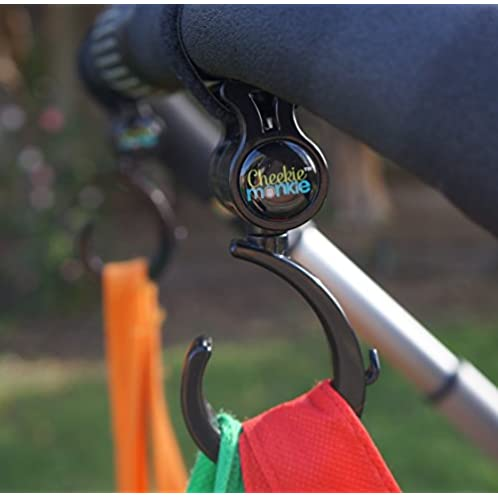 Cheekie Monkie Heavy Duty Stroller Hooks, Multi-Purpose Hooks (2 Pack)