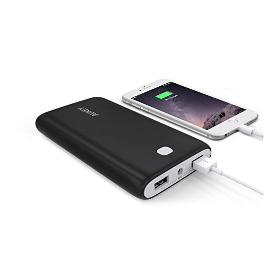 Aukey 20000mAh Portable Charger External Battery Power Bank with AIPower Tech for Apple iPad iPhone Samsung Google Nexus LG HTC Motorola and other USB Powered Devices (Black)