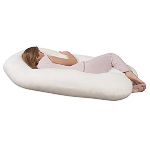 Leachco Back 'N Belly Contoured Body Pillow, Ivory