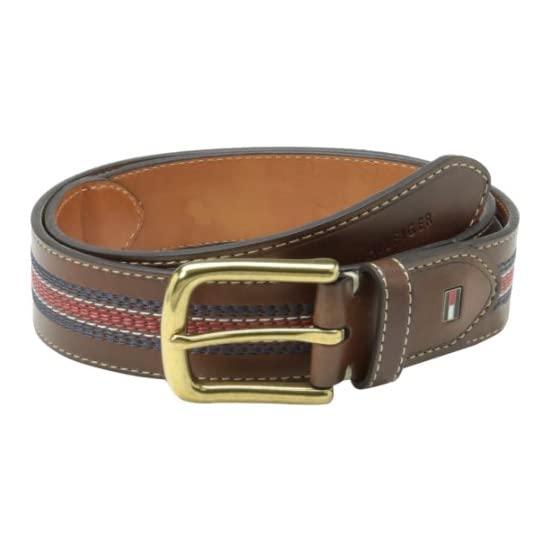 Tommy Hilfiger Men's Casual Belt with Center Stripe-Stitch Detail