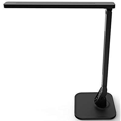 LAMPAT Dimmable LED Desk Lamp, 4 Lighting Modes (Reading/Studying/Relaxation/Bedtime), 5-Level Dimmer, Touch-Sensitive Control Panel, 1-Hour Auto Timer, 5V/1A USB Charging Port, Piano Black