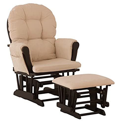 Stork Craft Hoop Glider and Ottoman Set, Black/Beige