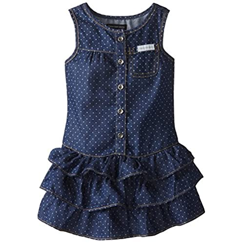 Calvin Klein Little Girls' Blue Denim Dress with One Pocket On Chest, Blue, 6