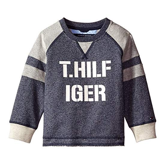 Tommy Hilfiger Little Boys' Long Sleeve Pieced Raglan Crew Top