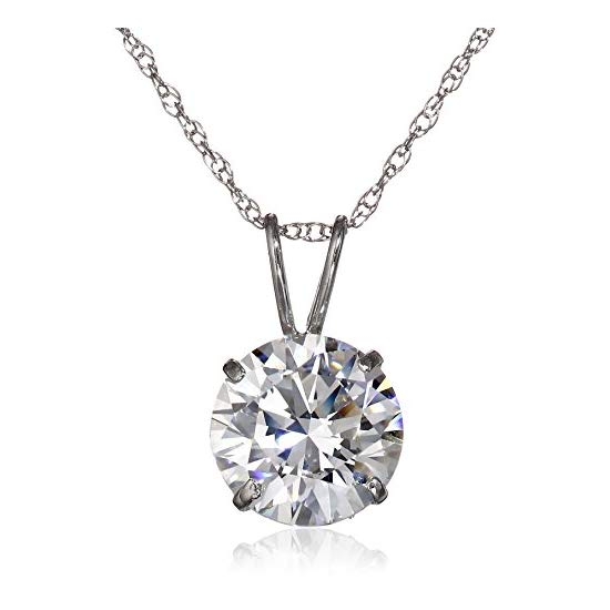 10k Gold and Solitaire Pendant Necklace Made with Swarovski Zirconia (2 cttw), 18