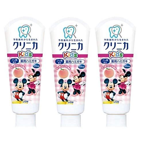 狮王  LION 儿童牙膏 Disney米奇防龋齿 防蛀固齿牙膏 可吞食 桃子口味 60g 3个装