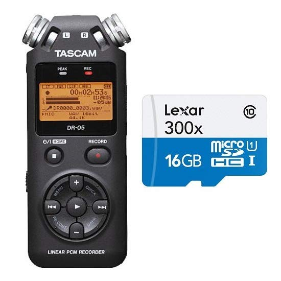 TASCAM DR-05 Portable Digital Recorder With Lexar 16GB SD Card