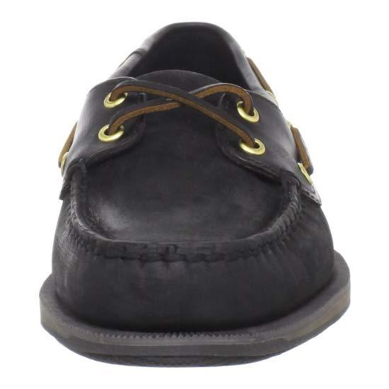 Rockport Men's Perth Boat Shoe,Black/Bark,6.5 W US