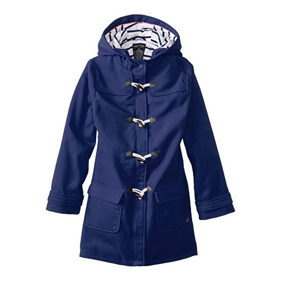 Nautica 诺帝卡 Big Girls' Faux Wool Swing Coat with Toggles 女童长款大衣