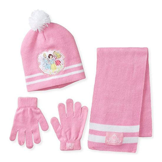 Berkshire Girl's 3 Piece Disney Princess Pom Beanie Glove and Scarf Set