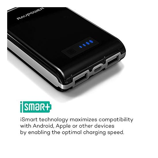 RAVPower Element 10400mAh Portable Charger with iSmart Technology (External Battery Pack, Power Bank, 3A Output, Dual USB)-Black